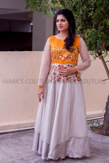 Refreshing design in shimmer fabric with hand embroidery touch in tint color combination for orders whatsapp us on +919676823483 #fashionsale #himascouture #himabindu #divyakola #sale #prettygirl #divyakola #longgown #durgopujo #navratri #datenight #preweddingphoto