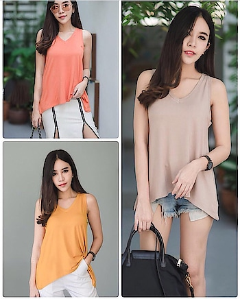 """Free size casual tank tops  Fabric - cotton lycra blend  Fits bust size 34"""" - 40 """" Length - 23"""" . . ₹699/- . . COD available . . DM or whatsapp +91-9687050267 for order . . #fashiontrends2018  #love  #shopping  #top  #tee  #offshoulder"""