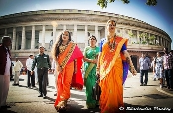 Laxmi Narayan Tripathi, #LGBT #transgender rights activist, Hindi film #actress came to #Parliament to meet Union Minsiter Thaawarchand Gehlot #newdelhi #India #woman #girl  #colorful  #photography #colors  #delhiwale #delhi #daily  #delhigram  #delhidiaries #delhi  #beingdelhiite #photography #delhivisit