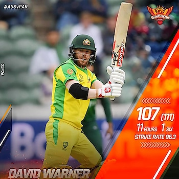 . 15th ODI ton ✅ 500+ runs at World Cups ✅ . 🙌 @davidwarner31 🙌  #AUSvPAK #CWC19 #RisersAtCWC19 #OrangeArmy #RiseWithUs #WorldCup #WorldCup2019 #Cricket #AUS #Australia #DavidWarner