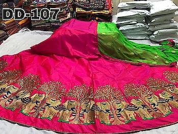 #dps #vc2 #hfh Price :- Rs.1450/-shipping free  Lehenga :- Paper Silk Blouse :- Paper Sikk Inner :- Santoon Work :- Embrpidery Dupta :- Nazmin Butti Semi stitch up to xxl Blouse Unstitch