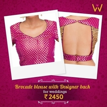Give your simple saree a stylish twist for the weddings you attend with this pink brocade blouse from WedLista.com!  BUY NOW: http://bit.ly/WL_Blouse  #WedLista #FashionForWeddings