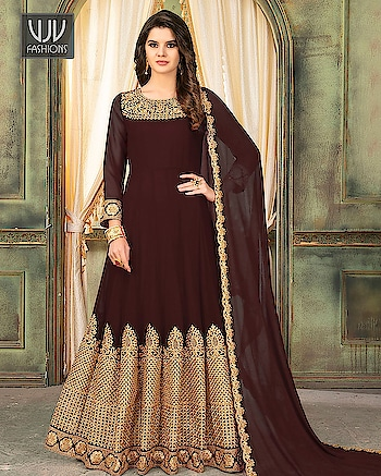 Buy Now @ http://bit.ly/VJV-FZ2699  Lovely Brown Georgette Embroidered Anarkali Suit  Fabric- Georgette  Product No 👉  VJV-FZ2699   @ www.vjvfashions.