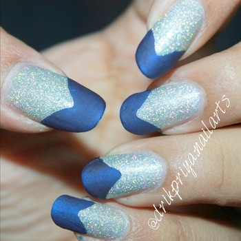 #Repost @drikpriya.nailarts with @repostapp ・・・ Blue and silver holographic triangle n reverve triangle nailart design using nailart venyl.  Products used :  1. Revlon holographic pearl nail polish @revlon  2. M11 blue matte Juice Cosmetics nail enamel @juicecosmetics  #nailsoftheday #mattenails #nailart #nailartclub #nailartdesign #nailartwow #nailartaddict #nailartist #nailartdesign #lovefornailarts #instanailart #instanailstyle #instanails #nailartblogger #easynailart #nailartlove #nails #nailarts #nailpolish #nailartworld #glossynails #shinynails #holographicnails #holonails #holographicpearls #revlonholographicpearls #bluenails #silvernails #glitternailsdesigns