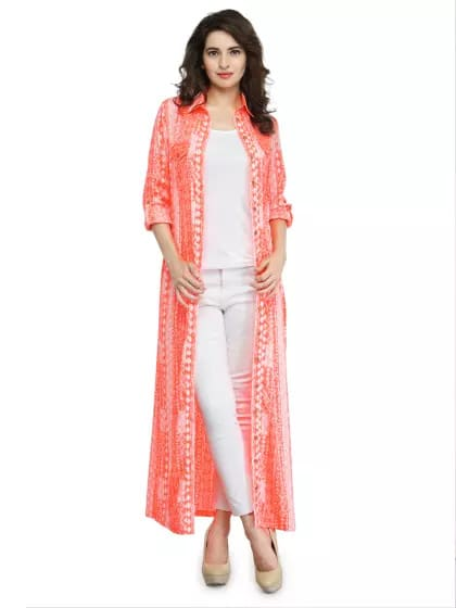 Orange Printed Button Down Maxi Shrug Price Rs 2499/- Discounted Price Rs 1299+59 shipping charges  Available in XS S M L n XL sizes  Material Polyester  COD option available   Orange and white printed maxi top, has a shirt collar, a full button placket, long sleeves with roll-up tab features, two flap pockets, side slits, tie-up detail along the waist.