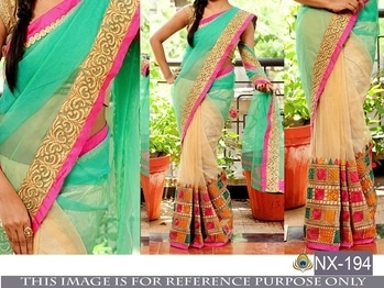 #hfh *NAVRATRI SPECIAL DESIGNER SAREE*  FABRIC: GEOEGETTE/NET WORK: HEAVY EMBROIDERY BLOUSE UNSTITCH  *1699 *free shipping