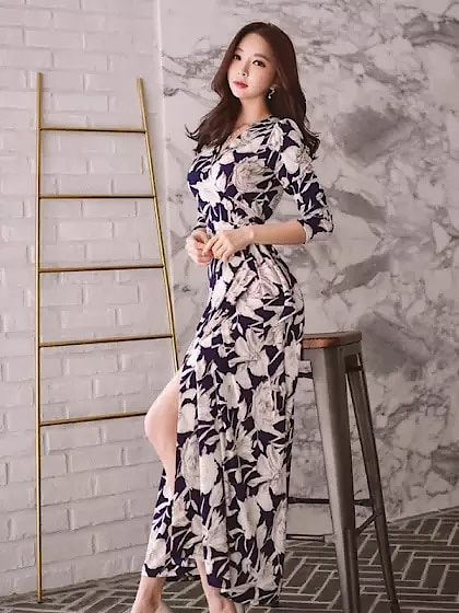 Dark Blue Floral Dress With Slit --#womensfashion, #womensonlineshopping, #women-fashion, #women-branded-shopping, #women-style, #womensfashionreview, #women, #stylishlook, #stylewear, #shoelove, #womenstyle, #womenapparel, #womenonroposo, #womendress, #women-clothing, #womansclothingonline, #fashion, #Dress,