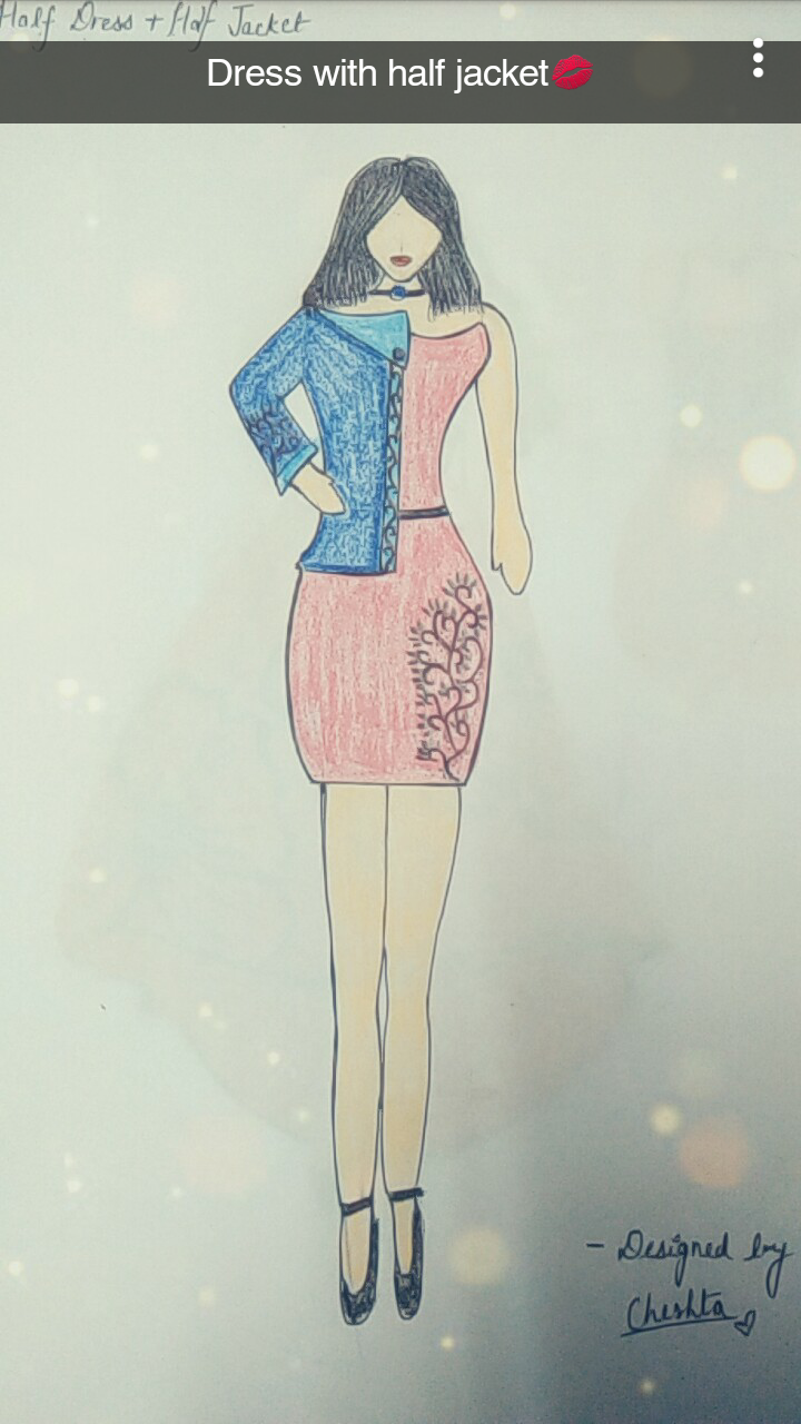 Half coat on Dress🌹❤ What do u think of this design??!! Do ur reviews on cmmnt section❤ LOVE LOVE🌹 #creativespace #wow #designer #fashiondesigner #illustration #pencil #art #lookgoodfeelgood #cute #pink #featureme #featurethis #roposo-creativeartist #roposo-fashiondiaries #roposo #cheshta #mood #roposolove