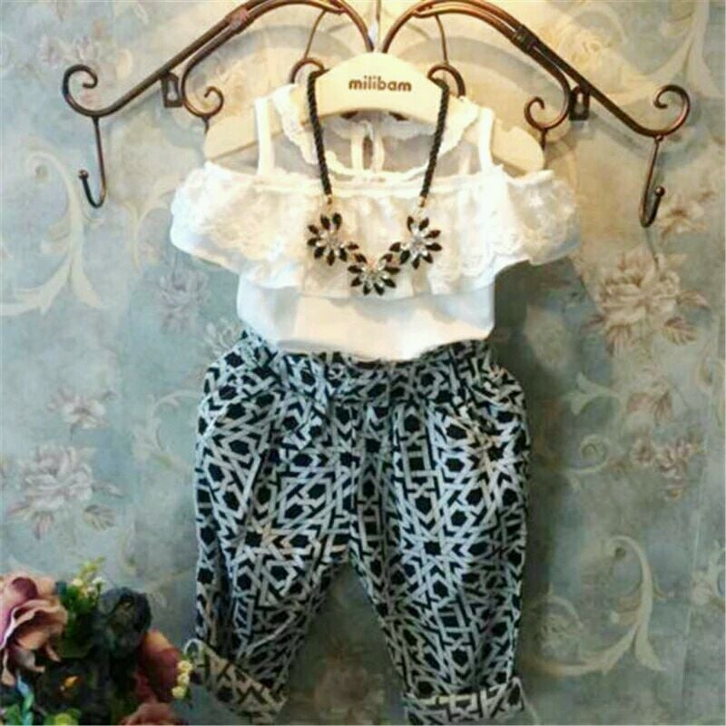 Kids set White lace top and printed bottom  Material cotton Price: 1100+ Shipping #lace