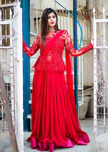 Red is forever.   Rent this scarlet red, embroidered flamingoes , Peplum lehenga and make heads turn.    Logon to www.rentanattire.com to browse our collection or visit our stores in Delhi , Pune and Dehradun.  #rentanattire #fashiononrent #differentisbeautiful  #bride #bridalwear #photoshoot #beauty #bridaljewelry #kundanjewellery #bridallehenga #rental #shoot #weddingfashion #weddings #indianweddings #wedmegood #bridalaffair #fashion #style #bridal #brides #bigday #weddinghour #potd #designerlehenga #peplumlehenga #rentyourlook #rentingisthenewbuying