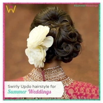 Try this swirly updo to stay breezy this #SummerWeddings season.  Find your stylish outfit from WedLista.com to pair with this pretty hairstyle!  #WedLista #FashionForWeddings