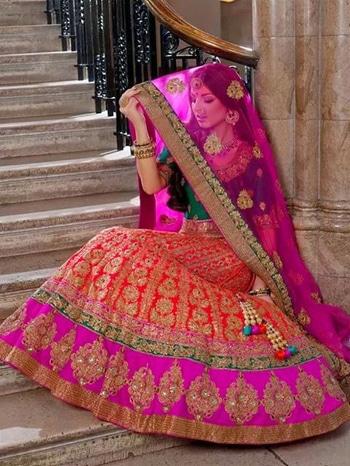#weddding #lehenga #pink #orange #dress