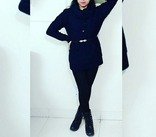 #lookoftheday . For me #winter means dark clothes & bright lips. #soroposo #roposotalks #roposolove #navyblue #sweaterdress #stonebelt #blackjeggings #combats #pinklips #posing #roposostylefiles #keepitstylish #photography #lifestyle #ootd #ootdmagazine