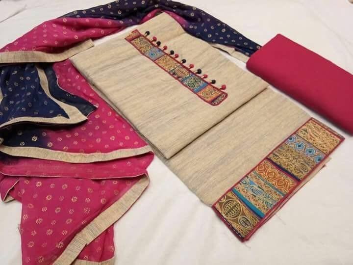 Rs 950+$.     Top khadi cotton print patch.   Bottom slub print.    Dupatta siffon print👆👍👆fully stock rady👆👆 For booking contact at 8790064509
