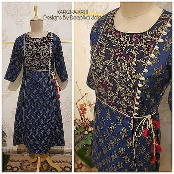 #karghakriti #designsbydeepika #kurti #casual-clothing #officialwear #embroidered  #blockprinted #alinecut #purecotton #contact @8010205987 for details & enquiry #designer-wear #we design the way u desire ! #alloverindiashipping