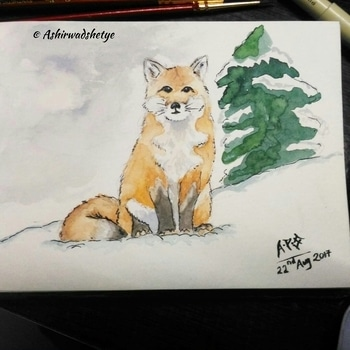 red fox  #red #fox #water #colour #watercolours #painting #art #snow #happy #smile #peace