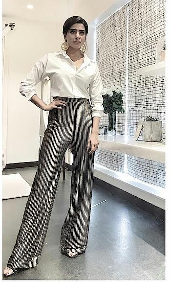 #earringsoftheday #white #black #pantsuit #samantharuthprabhu #southindianactress #fashionquotient