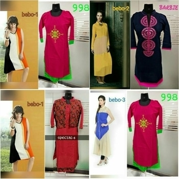 *Combo offer*  _9773408296  www.Facebook.com/weddress.bhavesh   *1 Kurti + 1 Kurti=2kurtis at ₹599 only*_  💢Bebo Georgette fabric Semi stitched upto XXXL 46  ✳Other all pure cotton size L 40 and XXL 44   *Price: 599+$ only*  Ggcccc