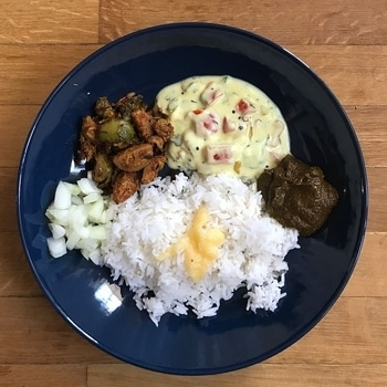 Today's Lunch - Brussel Sprouts Stir Fry with sambar powder & coconut, Bell Peppers Yogurt Chutney with ginger, chillies and lots of coriander, Spinach Chutney, Chopped Onion, Rice and Ghee (clarified butter) 😍😋  #food #foodie #blogger #foodblogger #lunch #vegetarian #healthy #healthyfood #vegetables #eatinghealthy #homefood #cooking #yummy #delicious #southindianfood #love #food #roposofood #weekend