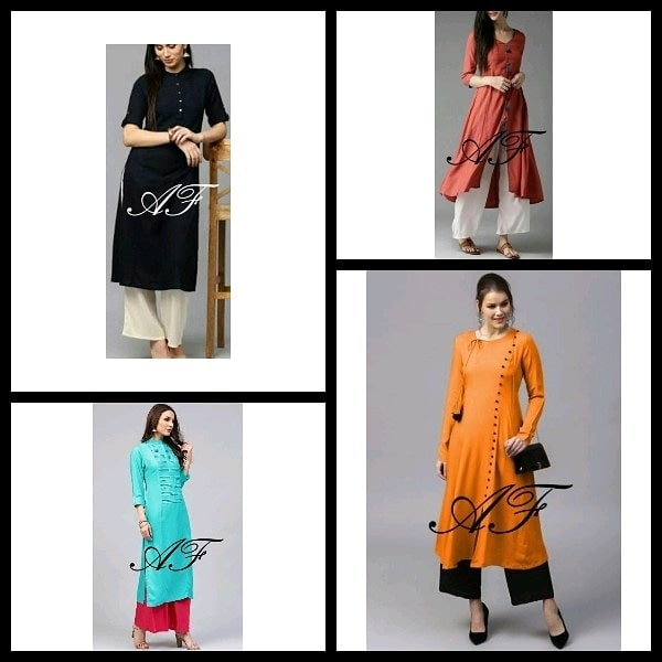 On Sale!! Ethnic Rayon Kurtis from AF!  Look gorgeous wearing these beautiful kurtas with from AF. Perfect for casual as well as office wear.  Fabric: Rayon Size chart: XS(34), S(36), M(38), L(40) , XL(42), XXL(44), 3XL(46), 4XL(48) inches Length: 42 to 52+ inches Contains: 1 Kurta only (Palazzo is not included) Wash care: Machine and hand wash Occasion: Wedding, party, casual & office wear *Note: Sale is only for 2 days! Hurry-Up!  *Disclaimer-Product color may vary slightly due to lighting effects used in photoshoot and your screen settings  *About the Brand -AF is an upcoming brand of classy western wear dresses and kurtis. Known for its high-quality material and trendy designs.  Price  rs  750+shipping charge