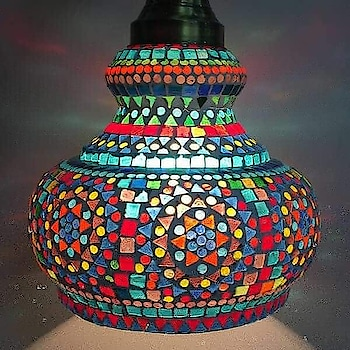 Glass mosaic hanging lamp Grace ur home sweet home with this beautiful n colourful lamps. #bluepottery WA @9886066322