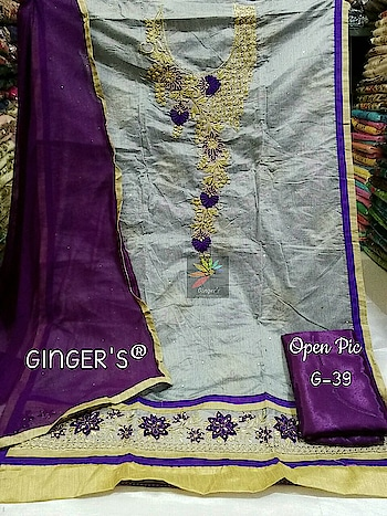 """*Biggest Sale Ever*😍  *GINGER'S ®*💕 *D.Code : G-39*💕   *Top (2.30 Mtrs)* : Semi Modal Silk Heavy Embroidery & Diamonds *Dpt (2.00 Mtrs)* : Pure Chiffon  *Btm (2.00 Mtrs)* : Shantoon Silk *Inner (1.50 Mtrs)* : Shantoon Silk  *Height 46"""" & Fits Upto 58""""*💕  *Rate : ~799~+Shipping* *Sale Prc : 675+Shipping*✅  *PS : ORIGINAL PRODUCTS ALWAYS COMES WITH GINGER'S LOGO STICKER*😍   Direct Message us or whatsapp on 9867764381   Follow us 👉🏻on FB:  *https://www.facebook.com/Stylista-Fashionss-2137660539847810/*  #stylistafashionss #style #fashion #trend #readysuit #dressmaterial #ethnic #western #fashionjewellery  #handbags #kurti #botttomwear #onestop #shopping #saree #readymadeblouse #lookstylish #bethefashion #shopstylistafashionss #onlineshopping #bestquality #bestprice #bestbuy #swag"""