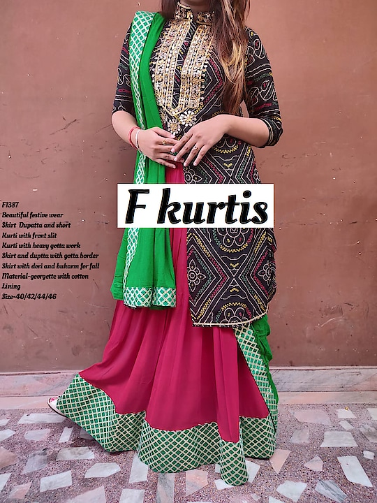 *F1387, F1388*  _*Beautiful festive wear Skirt  Dupatta and short  Kurti with front slit Kurti with heavy gotta work .Skirt and duptta with gotta border .Skirt with dori and bukarm for fall_*  Material-georgette with cotton Lining Size-40/42/44/46 Price -2350 free ship  Assured quality 💕  Ready to despatch 💕    *F1360*  _*Stylish look sharara short kurti and duptta set  with Nice flair in Sharara , foil work In dupatta , gotta detailing & muslin lining in Sharara .Sharara with elastic_*. Material-georgette  Size-38/40/42/44 Price-₹2250 free ship  Monday despatch 💕    *F1363*  *Get ready to rock this festive season with amazing party wear collection  from F Kurtis*  _*Designer sleeves 2 peice dress With long inner having Bukram for fall  and stylish top_*  Material top -digital print silk,  Material Inner- muslin with  Lining Size-36/38/40/42/44 Length-54 inch Price-₹2350 Free ship  Ready to despatch 💕  Direct Message us or whatsapp on 9867764381   Follow us 👉🏻on FB:  *https://www.facebook.com/Stylista-Fashionss-2137660539847810/*  #stylistafashionss #style #fashion #trend #readysuit #dressmaterial #ethnic #western #fashionjewellery  #handbags #kurti #botttomwear #onestop #shopping #saree #readymadeblouse #lookstylish #bethefashion #shopstylistafashionss #onlineshopping #bestquality #bestprice #bestbuy #swag