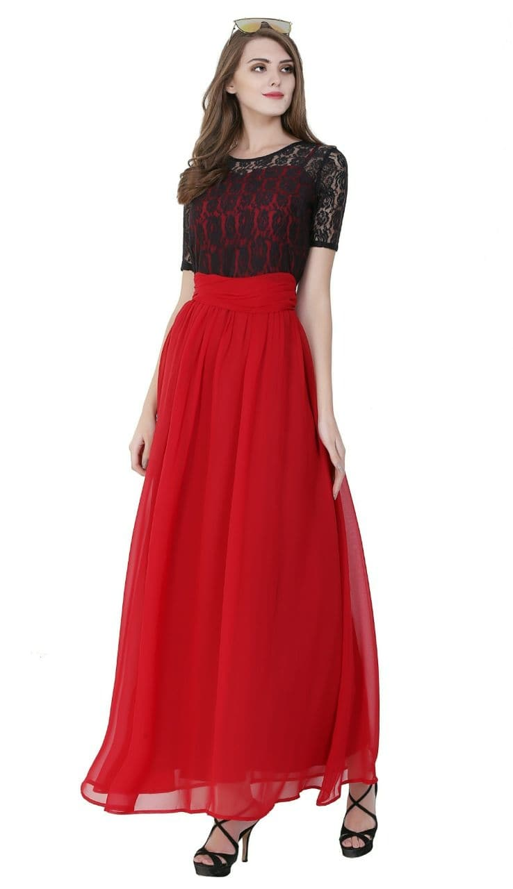 #evening-gown #gownlove #western-dress #women-fashion #womenwear #black-and-red #cocktaildress