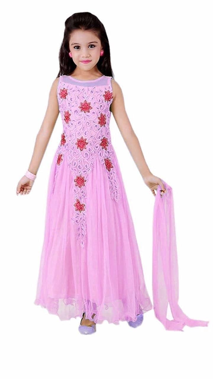 #hfh PRICE REVISED......  *👰👰PRINCESS GOWN👰👰*  Fabric: Net Inner: Raw Silk Fabric Dupatta: Net Fabric Work: Embroidery Style: Gown Semi Stitched  Size:   Length size chart  10 to 16Year :  Approx Length 40 inches   OLD PRICE: Rs.1250/-per piece  *NEW PRICE: RS.950/-per piece shipping free   Color Choice available..  🔴NOTE: CUSTOMERS CAN ADJUST THE SIZE AS PER THEIR REQUIREMENT🔴