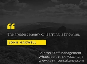 """""""The Greatest Enemy of learning is knowing""""  Kainth'z Salon Staff Management  Click:- www.kainthconsultancy.com"""
