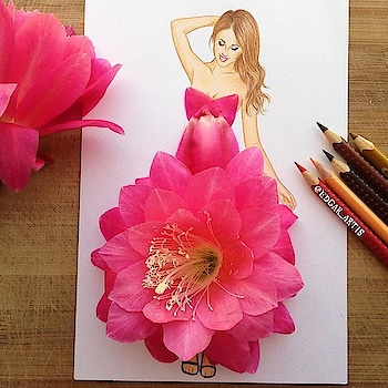 pink flowers dress #designerlove #fashiondesigner #illustration