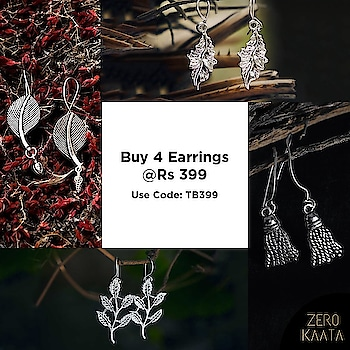 Get ready for the coolest bargains of the season! . 🔸Buy any 4 for just Rs 399/-🔸 . 🔸Use Code: TB399🔸 .   #oxidizedjewellery #earringsale #earringsaddict #bigearrings #newearrings #fashionearrings #statementearrings #dangleearrings #studearrings #pearlearrings #uniqueearrings #greenearrings #earringoftheday #hoopearrings #tasselearrings #handmadeearrings #earringscollection #earringsswag #earringsonline #earringsforwomen #stoneearrings #partyearrings