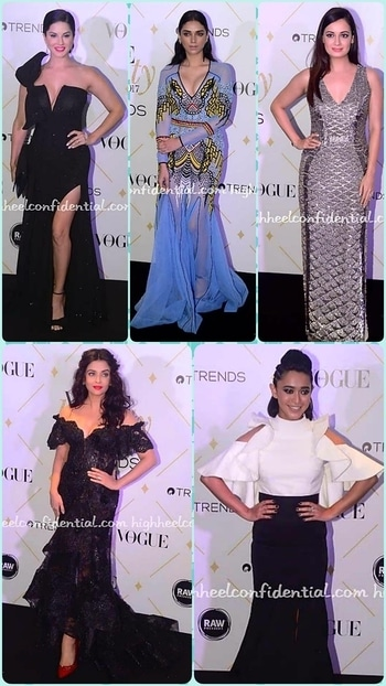 💜STYLE ON MY MIND 💜 It was #gowns for most of celebrities at #voguebeautyawards .#ashwaryaraibachan gave a hot glamourous look in lace off shoulder# NedretTaciroglu gown ,messy hair do and red lips 😚😚😚 #sayanigupta did a cold shoulder ruffle #Avaro Figlio gown with an edgy hairdo ,smokey eyes and nude lips which gave a different perception to a otherwise classy monochrome gown.😚😚😚 #designergown #bollywoodfashion#bollywoodstyle#glamourworld #glamourand style #fashionstatement #fashiondiva #delhifashionbloggernetwork #roposostyle#roposo-fashiondiaries #roposofashionbloggernetwork #roposofashionblog#chicstyle#sunnyleone #diamirza #blackgowns #styleonmymind