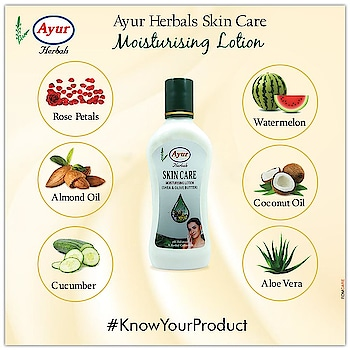 Ayur herbals Skin Care Moisturising Lotion with the goodness of Rose Petals, Almond Oil, Cucumber, Watermelon, Coconut Oil and Aloe Vera. It makes your skin glow, moisturises it and prevents ageing. #Ayurherbals #Herbals #Knowyourproduct #Skincare #Healthy #Glowing #Skin