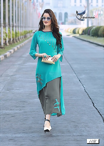 RANI TRENDZ  WE ARE LUNCHING OUR SUPER HIT KURTI CATALOG SERIES ……  CATALOG NAME :WESTERN-C  FABRIC DETAILS:- TOP : FOAX JORJAT INNER: SANTOON SILK  SIZE :M ,L , XL , XXL TOTAL DESIGN :9  *SINGLE RATE :1350/-WITH GST and shipping   *FULL STOCK AVAILABLE*  SINGLE & MULTIPLE AVAILABLE  READY TO SHIP