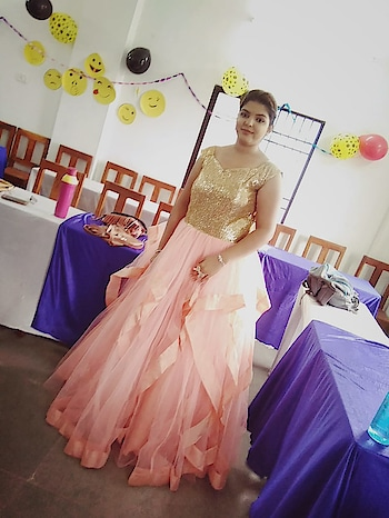 Farewell party. Swipe 👉. Gown from  insta store @whatsinofficial  #party #fun #enjoy #farewell #farewellparty #ballgown #gown #peachgown #sequin #sequingown #whatsinofficial #shriyashukla #princessgown #flares #doll #peachandgold #masti #roposo #roposoloves #roposotalks #soroposo #lookgoodfeelgood