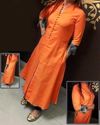 """👆👆👆👆👆 *Selfie Kurti -401/2/3/4 👗👗👗👗👗  _Good Quality / Replica...._  *Fabric : Cotton Fabric*   *Style : Center Crop Style*  *Clouser : Button*  *Full Stitched Readymade*   _*Size : L-40, XL-42, XXL-44*_  _*Length : 47""""inches*_  *Neckline : Stand Coller*  *Sleeves : 3/4 th Sleeves*  *RATE: 750* ➕🚛"""