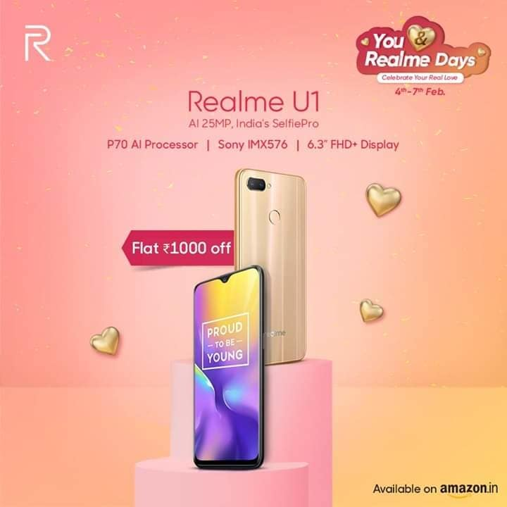 A powerful P70 processor, a high performance 25 MP selfie camera and an amazing offer! A steal deal indeed! Get #RealmeU1 at INR 1000 off from Amazon India : https://amzn.to/2Smpfji