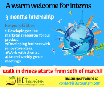 A warm welcome for interns IHC Tourism is offering internship for Graduates and MBA students for various job roles.  Duration : April to June Product training under well expert team Internship certificate Offer letter and experience letter. Walk in drives starts from 20 March.  Mail your resume  Contact@ihctourism.com 9949 7444 65. . .. #ihctourism#internship#job #hyderabad #habsiguda #internships #travel #company #tourism #offer #recommendation #letter #salary
