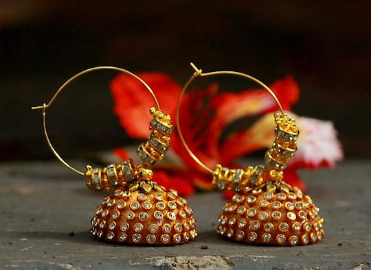 #Stone #Embellished #Golden #Coloured #Silk #Threaded #Jhumki