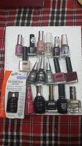 new purchase  #nailpolish #nailpolishaddict #nailpaint #nailpaintaddict #lakme #lakmeindia #elle18 #jaquline #nykaa #flormar #sallyhansen #revlon #colorbar