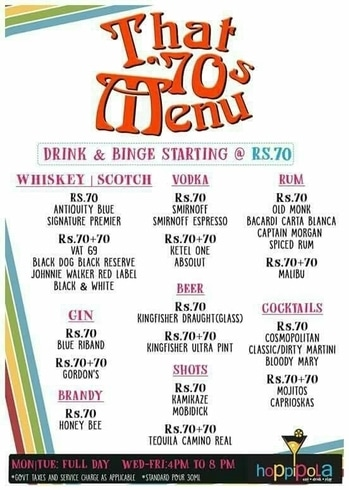 That 70's Menu at Hoppipola .. Monday/Tuesday : all day  Wednesday - Friday : 4-8pm  #DineDazzleDive #Food #Alcohol #Cocktails #FoodBlogger #Kolkata #Food #FoodPorn #foodiesofindia  #foodtalkindia #foodgasm #foodie #foodblog #cocktailparty #boozing