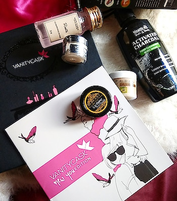 """💠Vanitycask is a beauty subscription box that delivers the handpicked luxury products or its samples at your door step to to try out at much lower cost. This month's @vanitycask box includes total 5 products.  1) Gulnare organic skincare Rosette Clarifying Toner-30ml 2) Healthvit Bath and body Activated charcoal Deep Cleansing Body wash - 200ml(full size)  3) Votre Under eye cream- 10gm (full size)  4) Bliscent Hot chocolate Lip butter - 5gm (full size)  5) The Nature's Co.  Fullers Earth Face pack - 35ml 💠The price of it is 999INR only for one month subscription . You can get the box at 800/month or 700/month if you take 3months or 6 months subscription.  You can use my special discount code """"APDIDE""""  to get additional product with the subscription box. You can order it on www.vanitycask.com 💠 So we got 3 full size products and 2 sample size or rather travel size product in just 999rs which is a great deal. The Votre under eye cream itself covers the cost of total box. 😃😃 Go for it guys and don't forget to use my code to get an additional product with the box. I will review each and every product in the detail soon on the blog. So stay tuned.   #beautyfitnessfunda #vadodarablogger #subscriptionbox #subscriptionboxindia #beautysubscription #indianbeautyblogger #ahmedabadblogger #vadodarabloggers #indianbeautybox #luxurybeauty #luxurybeautybox #luxurysubscriptionbox #luxurybathproducts #luxurybathing #bodywash #undereyecream #clarifyingtoner #fullersearthfacepack #fullersearth #chocolatelipbalm"""