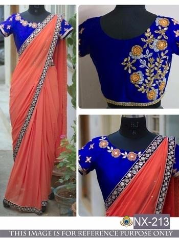Beautiful Saree -@1000/- INR Only, Fabric details --  DS NO.  :   NX-213,     PALLU /SCUTT  :  GEORGET,     BLOUSE  :  BENGLORI  SILK,    WORK  : THREAD FANCY WORK,    TYPE  :    SAREES,     **WHATSAPP ME AT +91 9760614947** #lehenga#lehengacholi#indianfashion#indianweddings#sagan#mehndi#designerdress#delhi#mumbai#fashion#dallas#dallasindia#wedding#indianwedding#london#londonfashionweek#canada#australia#dubaifashion#dubaiethnic#womenfashion#trendy#latest#sareehyderabad#delhi#delhistreet#pune#bangalore#delhiwedding#floral,