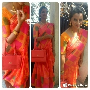 Sari number 3 of #100sareepact  Tussar silk  . #ethniblogger #sareelover #orange #summercolors #ishtyleawhile  #ethnicwear