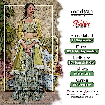 """"""" BOOKINGS WELCOME """" for the Festive Shows of MODISTA to showcase your collection in apparel, jewellery, accessories home decor !!"""