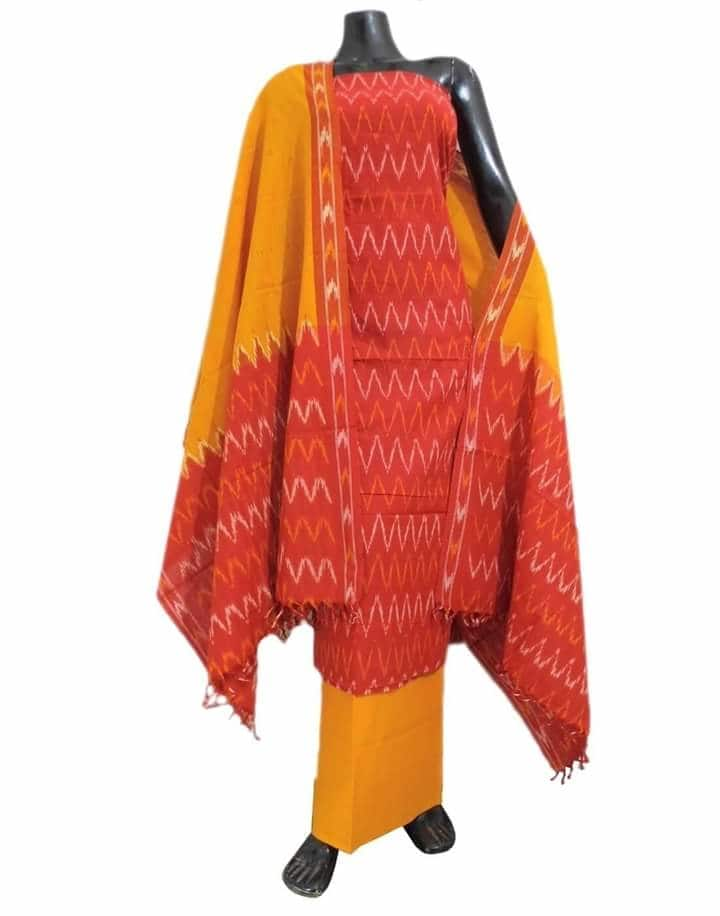 Tie and Dye Artistic hand block print ikat dress  material from GiftPiper. Simple yet elegant, perfect for both office and casual wear. Shop at https://www.giftpiper.com/browse/ikat-dress-material-salwar-suits. Pay COD, 15 days Return. 20% off on orders above Rs 2000 with voucher code-piper20. Resellers whats app us at 9902488133