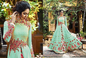 Zubeda z-501 Fabric Details :-  Top :- Georgette With Embroidery work n handwork Sleeves :- Georgette With Emb.work   Inner :- Santoon  N lendha :- shartin print Dupatta :- Nazmin  Length :- Max up to 55 + Size :- Max up to 46+ Flair :- 3 mtr  Style :- Long  Gown  Type :- Semi Stitched ( Material )  Weight :- 1.300kg  Wash :- First time Dry clean Rate:-1950+ship  👑vrs
