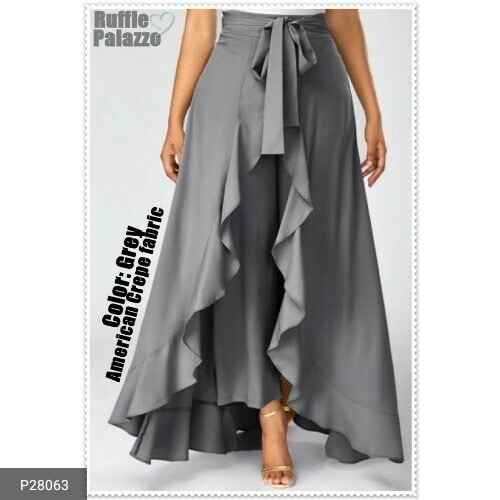 (Roposo): *-----------------* *Trendy Crepe Ruffle Palazzo Skirts!-*  The highly demanded ruffle palazzo skirts with new refreshing colors are here. Made of superior american crepe fabric.  Fabric: American crepe  Size: S(Fits from 26 to 32 inches), L(Fits from 34 to 38 inches), XXL(Fits from 40 to 44 inches) Waist: Elastic at back  Colour: As mentioned in the image Length: Palazzo-38 inches, Skirt- 42 inches  *Quality assured!! *Belt and skirt are attached to palazzo.   *Disclaimer-Product color may vary slightly due to lighting effects used in photoshoot and your screen settings  *(Roposo): *Pricing for Trendy Crepe Ruffle Palazzo Skirts!*:   *Code*				*Resellers- Price* Price for P28060-P28073: Rs.900 Members Price: Rs.999 (Shipping Extra).plz contact my whtsap-9557655622