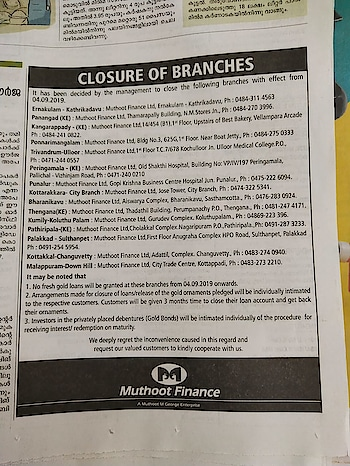 #muthutfinance closing all branches